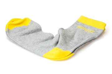 Isolated wool socks with inscription MONDAY