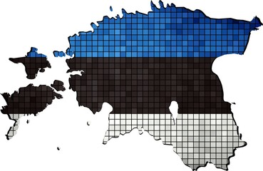 Estonia map grunge mosaic