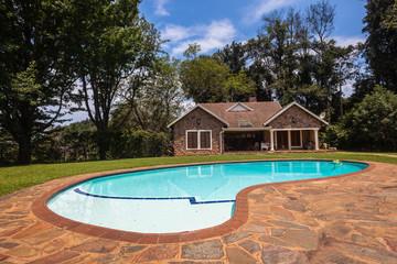 Cottage Home Pool Landscape