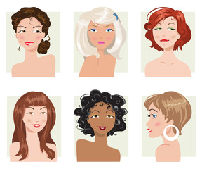 Set of female hair style. Vector collection