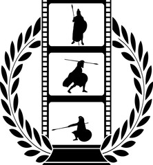 laurel wreath and film with warrior