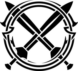 stencil of pattern and crossed swords