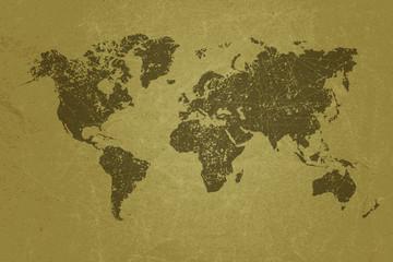 World map on blank grunge paper texture.