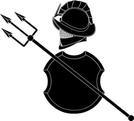 stencil of gladiators helmet wit trident and shield