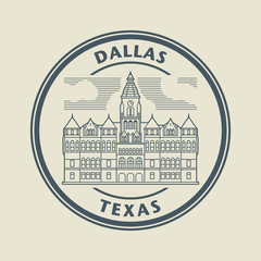 Stamp with name of Texas, Dallas, vector illustration
