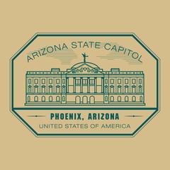 Stamp with name of Arizona, Phoenix, vector illustration