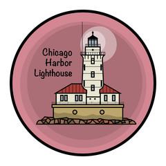 Chicago Harbor Lighthouse, vector illustration