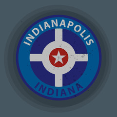 Label with name of Indiana, Indianapolis, vector illustration