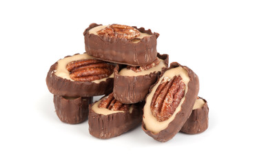 chocolate candy with pecan nut