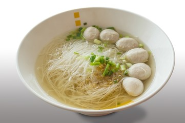 Rice vermicelli in thin soup