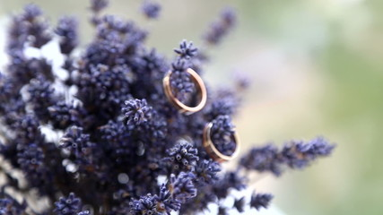 Two wedding rings on a bouquet of lavender.