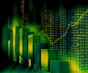 Stock Market Graph and business Bar Chart.