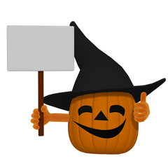 cartoon pumpkin with a blank sign