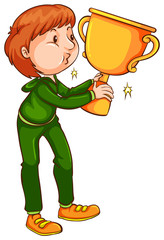 A coloured sketch of a winner with a trophy