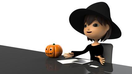インタビューを受けて話すハロウィン衣装の女性
