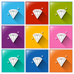 Icons with sparkling diamonds