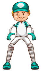 A simple sketch of a cricket player