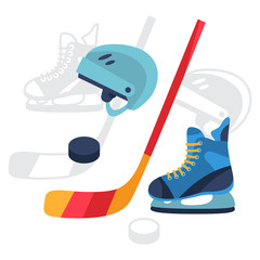 Hockey equipment icons set in flat design style.