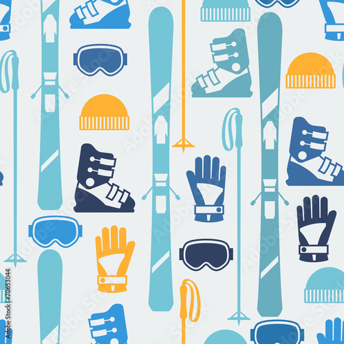 Materiał do szycia Sports seamless pattern with skiing equipment flat icons.