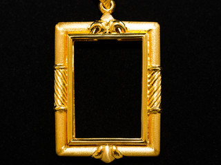 gold locket frame pendant