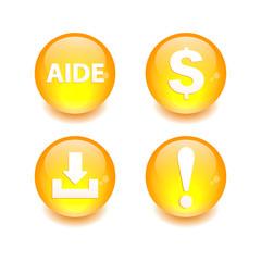 Button icon set 3D internet