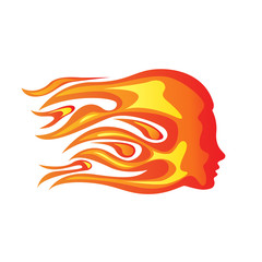 Vector sign fiery woman, concept of passion