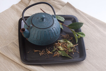 Teapot and tea leaves