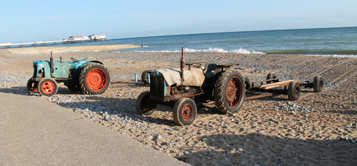 Two Vintage Beach Tractors for Landing Fishing Boats.