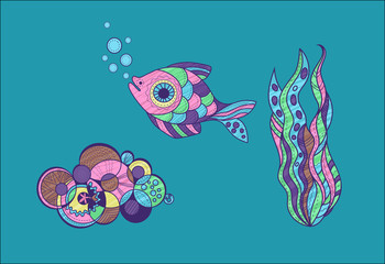 set of sea life objects in cartoon style