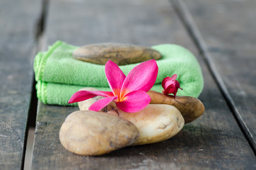 plumeria flower and Fabric with stone