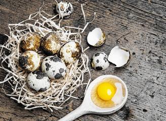 fresh quail eggs - still life on wooden background