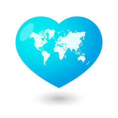 Heart with a world map