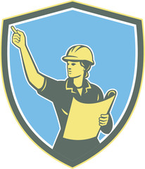 Female Construction Worker Engineer Shield Retro