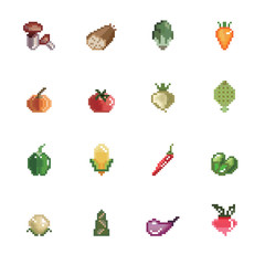 Vegetables Pixel Icons