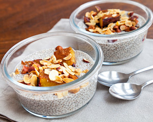 Vanilla chia seed pudding with baked prunes and nuts