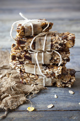 stack of homemade granola bars with dried fruits