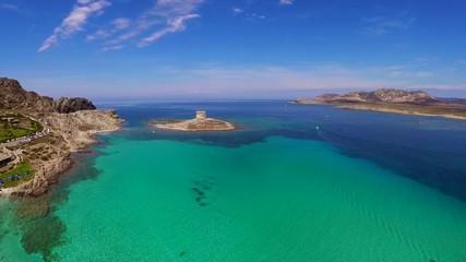 Aerial shot of beach with pool ,Stintino,Sardinia,Italy