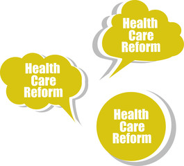 health care reform, Set of stickers, labels, tags. Template