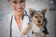 Composite image of smiling female vet holding cute puppy