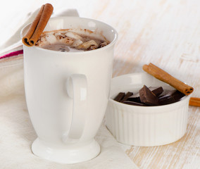 Sweet Chocolate with marshmallows and cinnamon