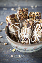 homemade rustic granola bars with dried fruits