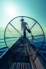 Traditional Burmese fisherman at Inle lake
