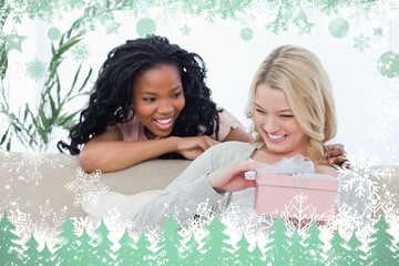 Smiling woman is holding a pink box and her friend is behind her