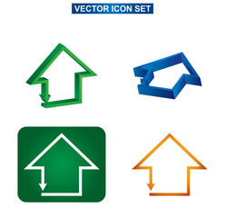 Color building and house icon set, abstract illustration on whit