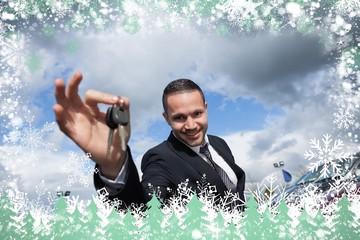 Composite image of happy seller holding car keys