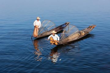 Traditional Burmese fishermen at lake, Myanmar