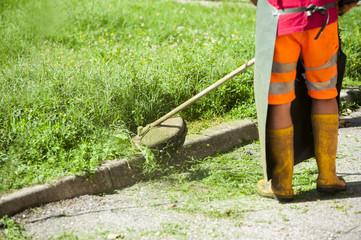 Man cutting grass with petrol mower