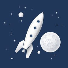 Space rocket flying in space.Vector illustration