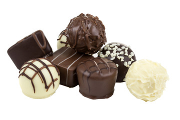 Dark and white chocolate on a white background