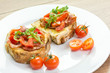 Fresh Bruschetta Sandwich With Bacon, Rucola And Tomatoes